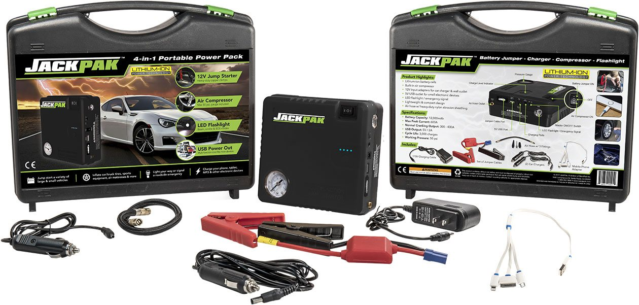 Complete JackPak portable battery power pack